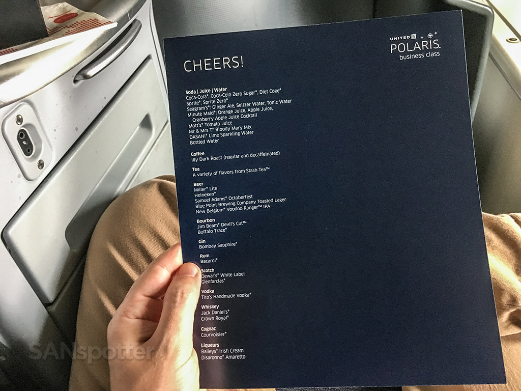 United Polaris business class drinks
