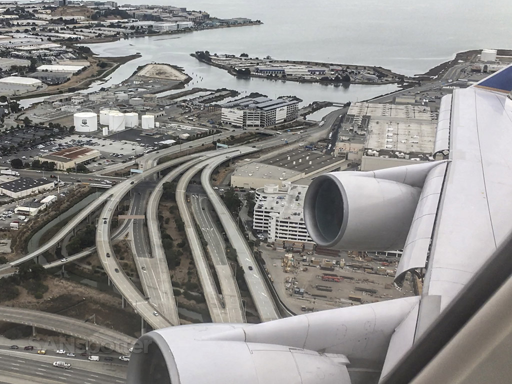 United Airlines 747 take off from San Francisco international airport