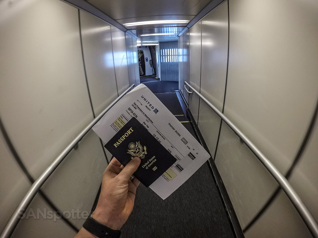 Passport and boarding pass United Airlines 747