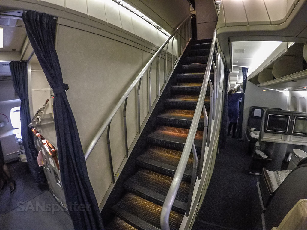 United Airlines 747–400 upper deck stairs