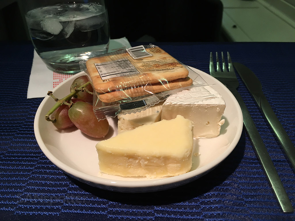 United airlines Polaris business class after dinner cheese