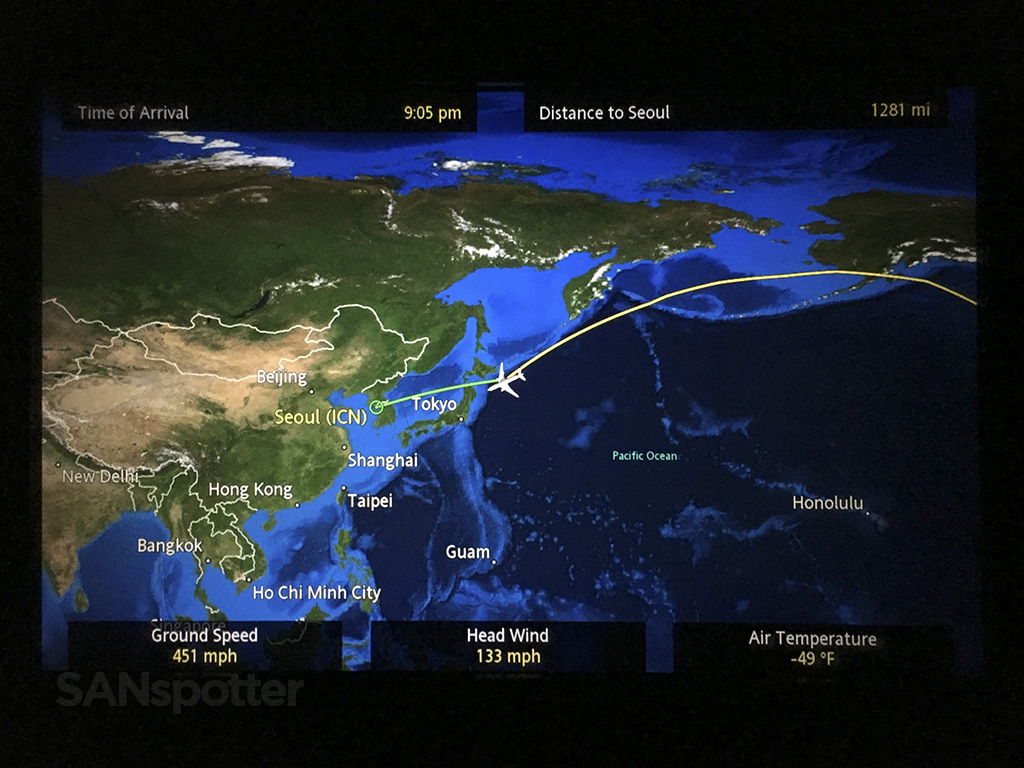 Flying to Korea from the United States
