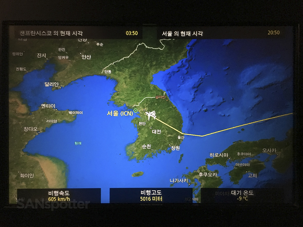 Entering South Korea airspace
