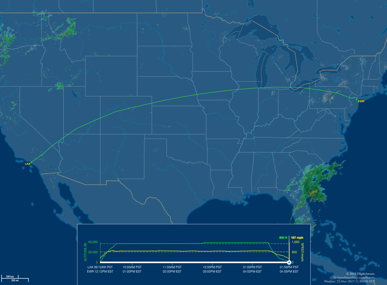 LAX to EWR route map