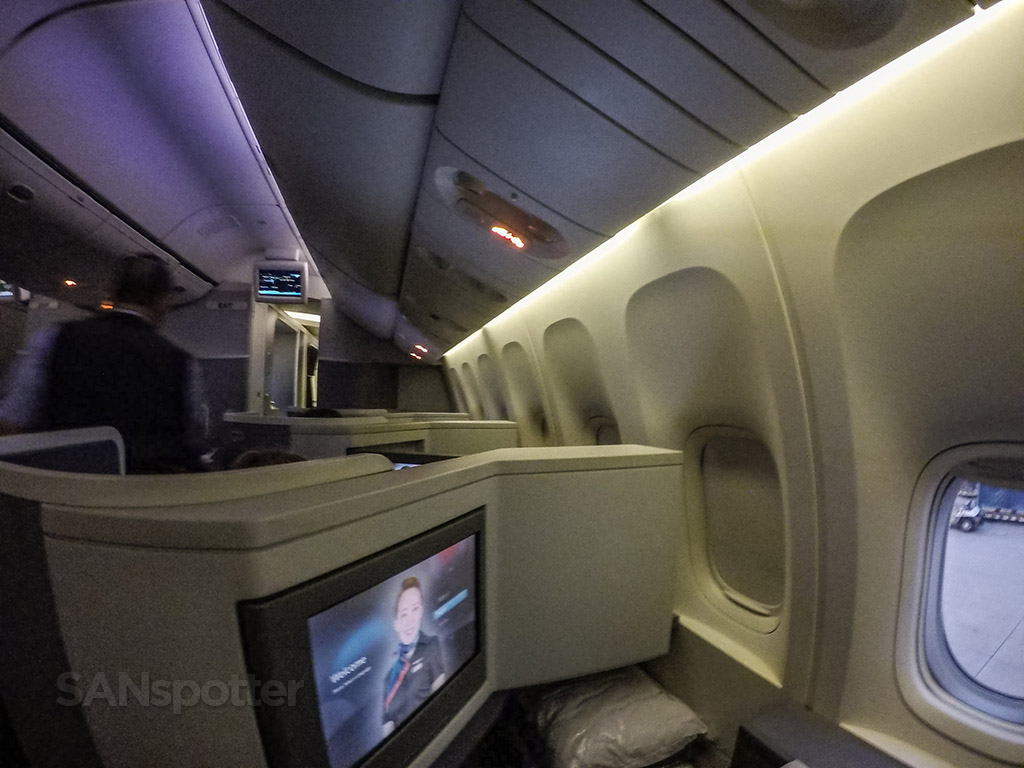 View looking forward American Airlines 777–300 business class seat