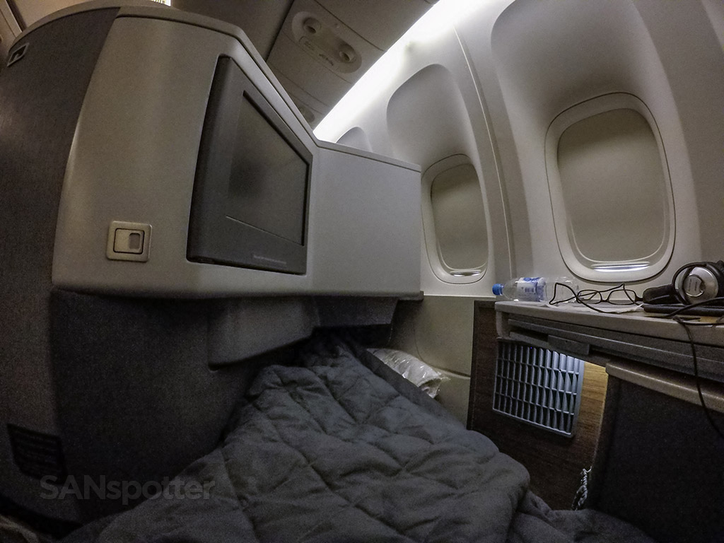 American Airlines 777–300 cabin lights on