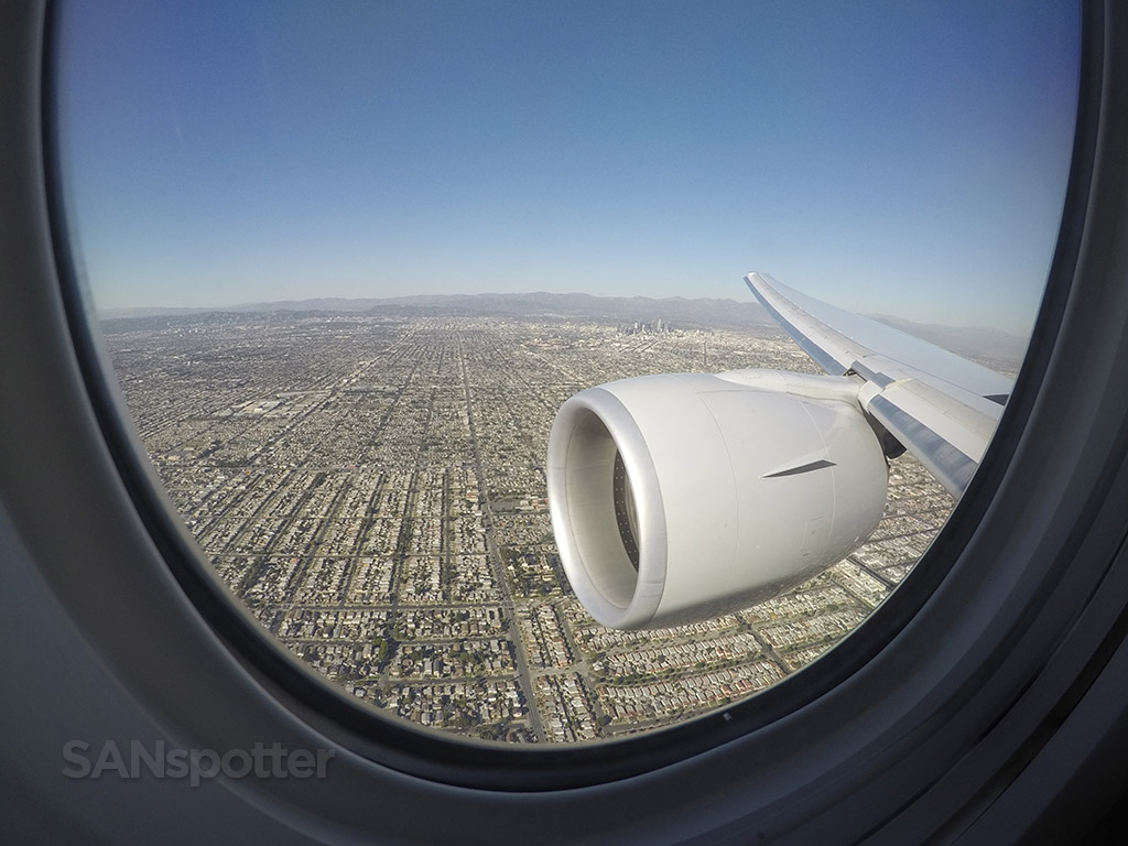 Flying over downtown Los Angeles