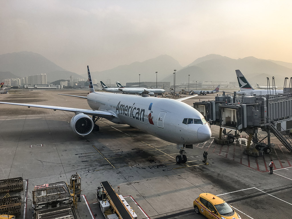 American Airlines 777–300 Hong Kong international airport