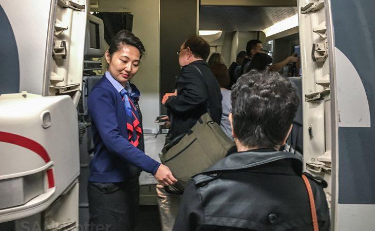 Boarding American Airlines flight Hong Kong to Los Angeles