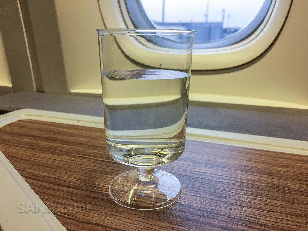American Airlines international business class pre-departure drink