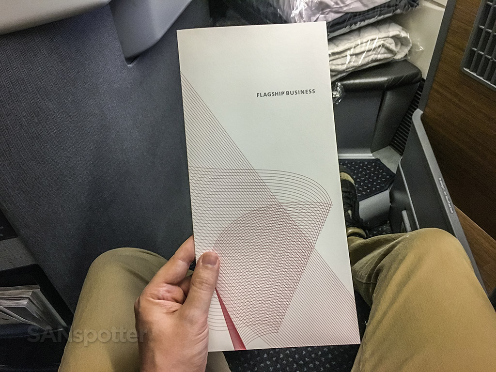 American Airlines flagship business class menu