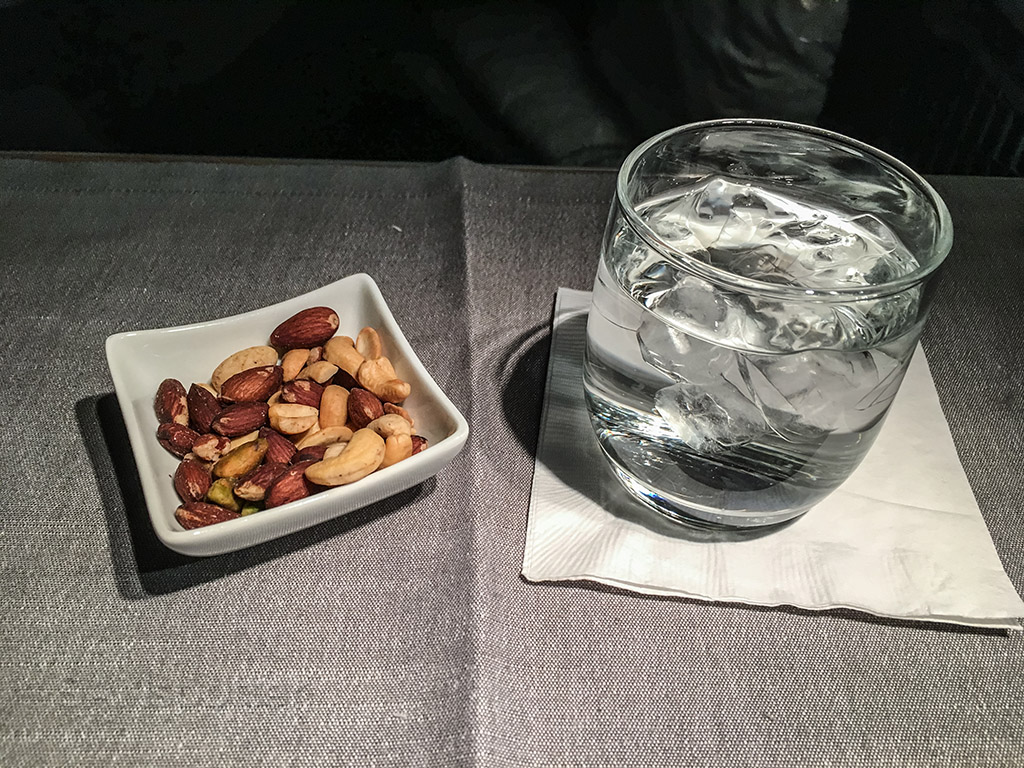 American Airlines international business class pre-dinner snack