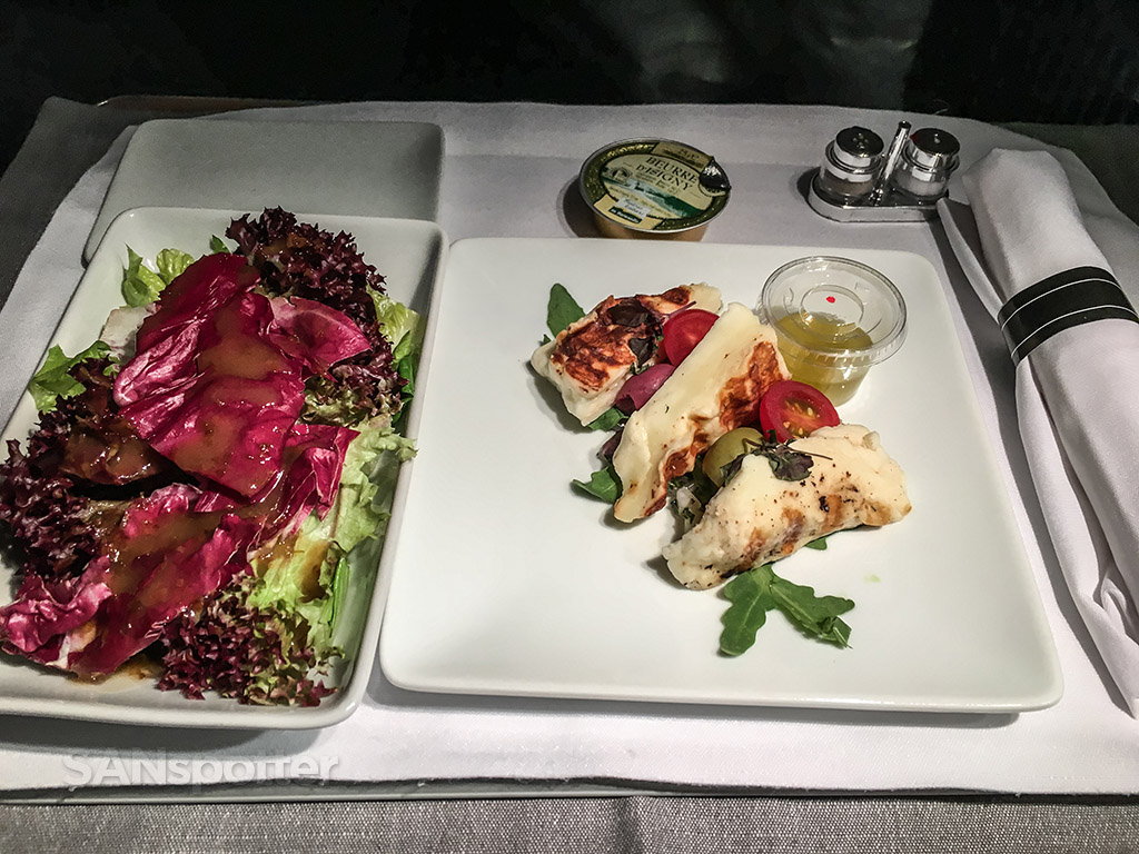 American Airlines flagship business class appetizer