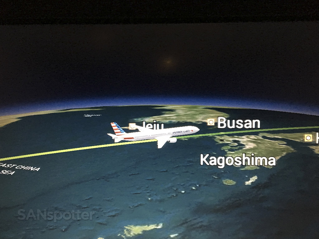 Flying over Korea transpacific flight