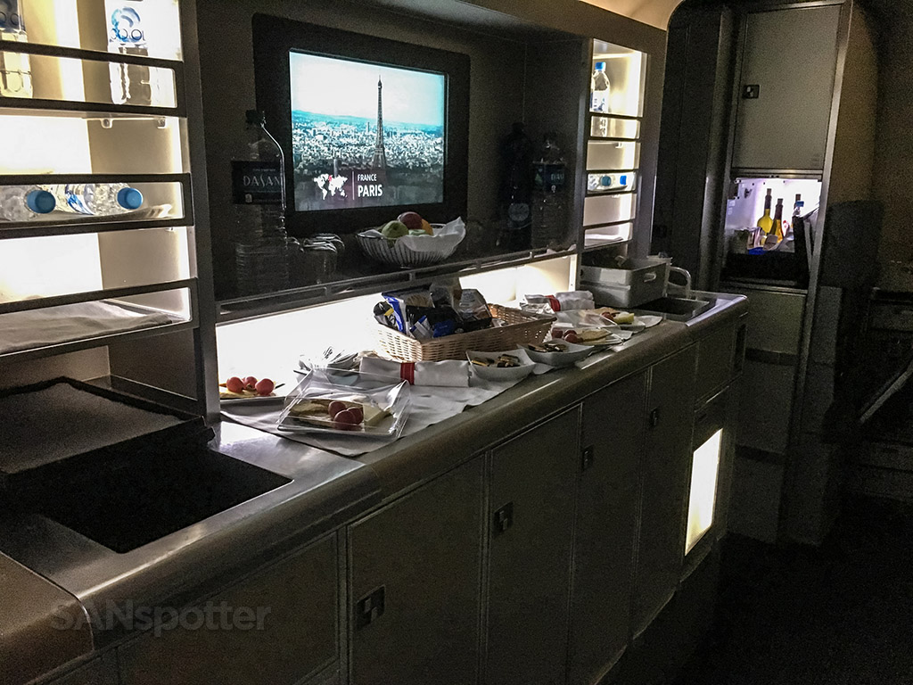 American Airlines 777–300 business class self serve snack bar