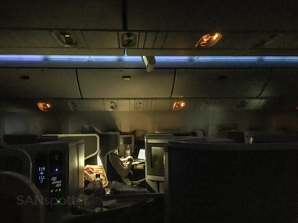 American Airlines 777–300 business class at night