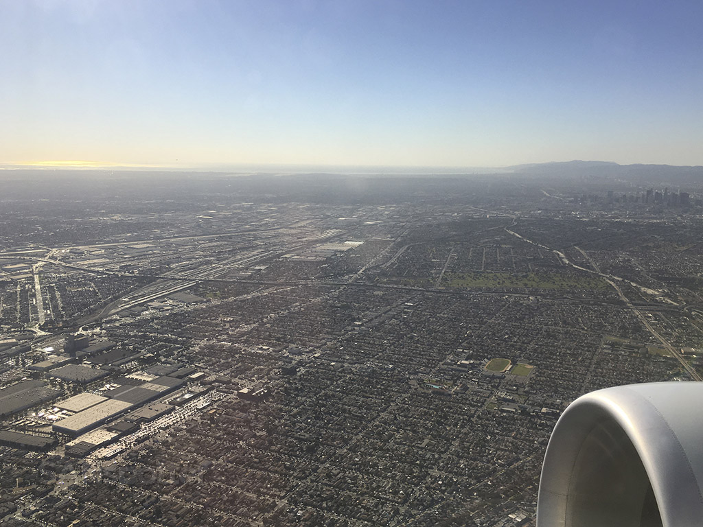 Flying over the city of Los Angeles