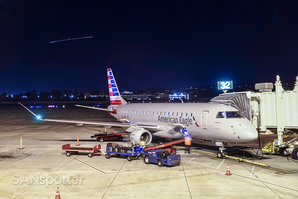 American eagle ERJ-175 San Diego airport at night