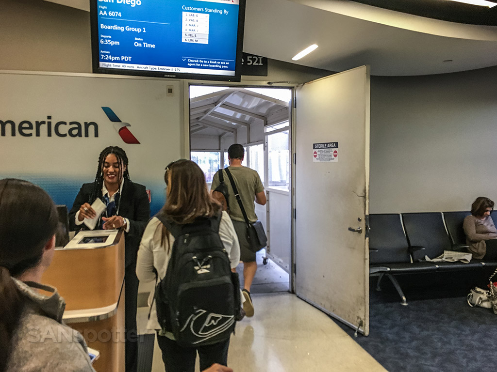 Hoarding American Eagle flight to San Diego Los Angeles international airport