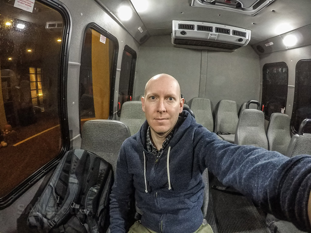 SANspotter selfie Hotel shuttle bus