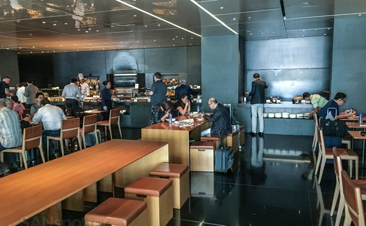 The Bridge Cathay Pacific business class lounge cafeteria