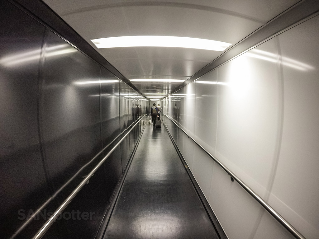 Walking down the jet bridge