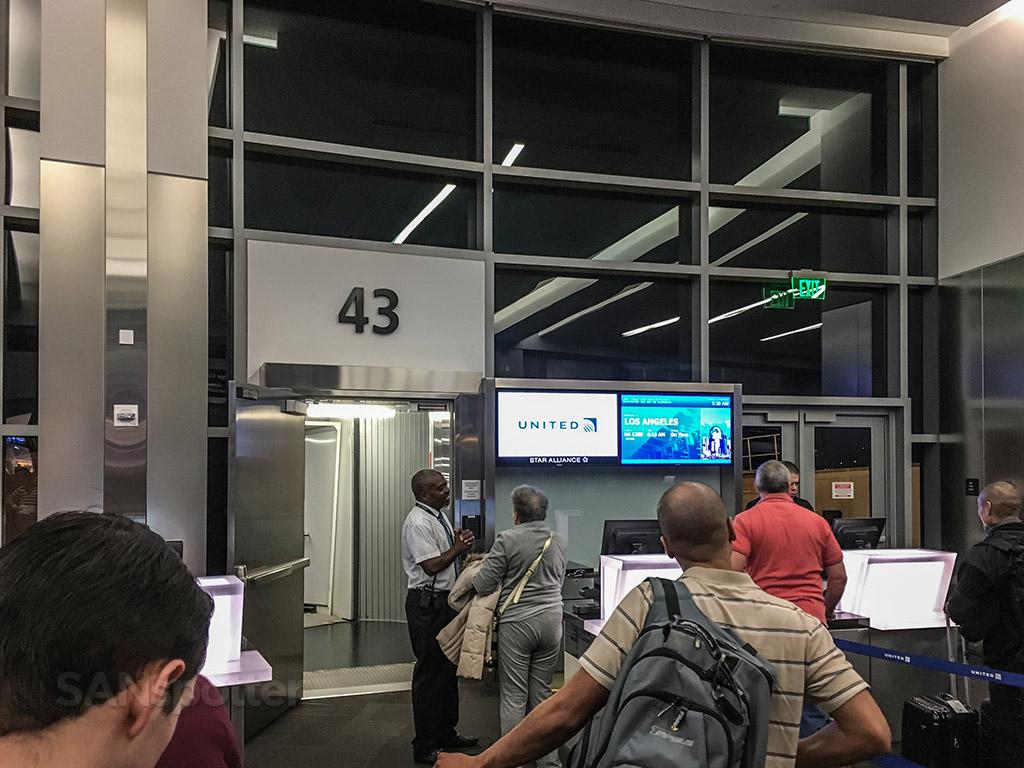 Boarding at gate 43 SAN
