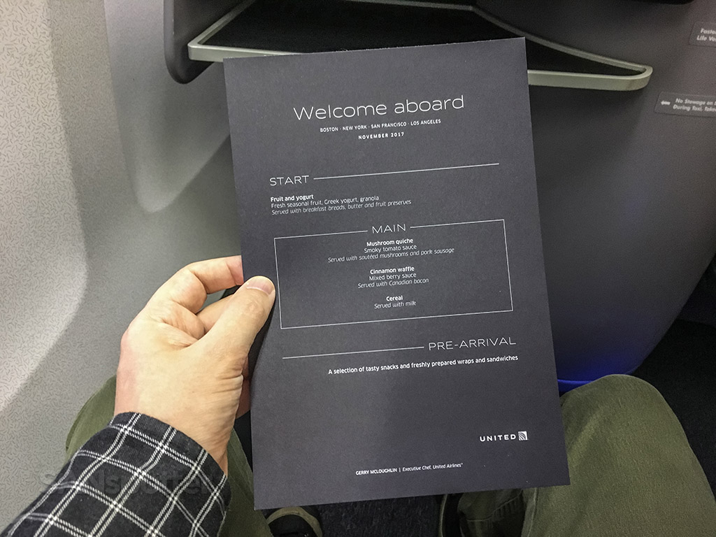United Airlines premium trans continental business class menu