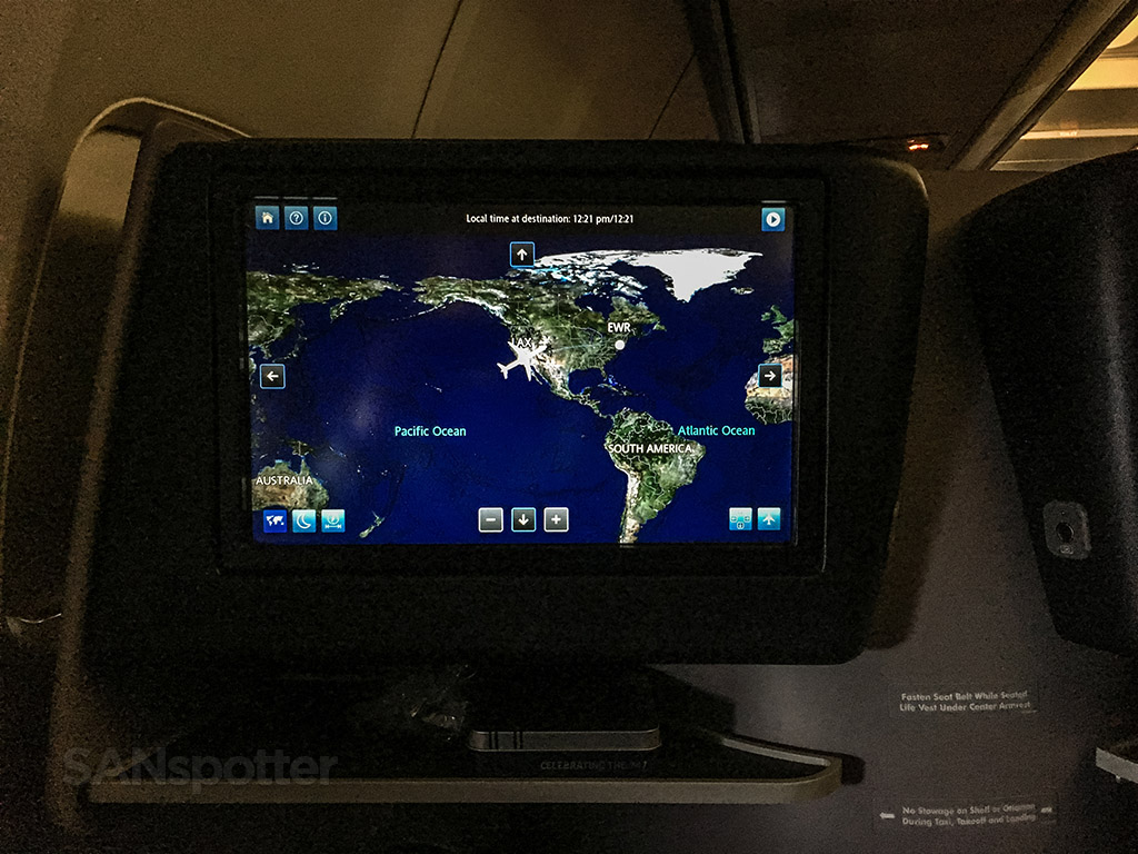 United Airlines moving map entertainment system