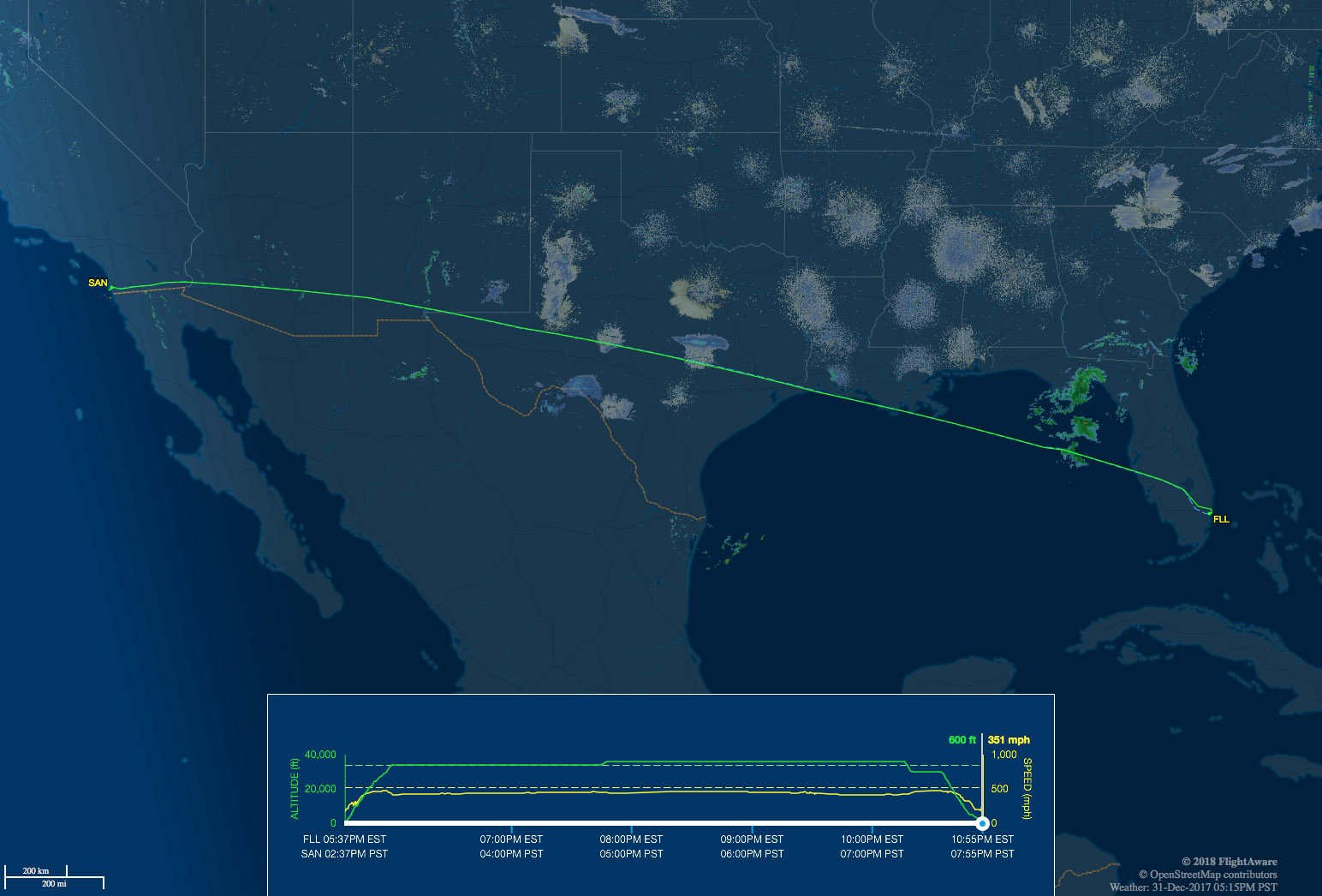 FLL to SAN flight map