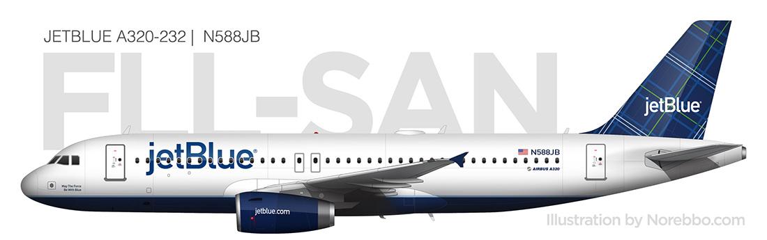 JetBlue A320 side view