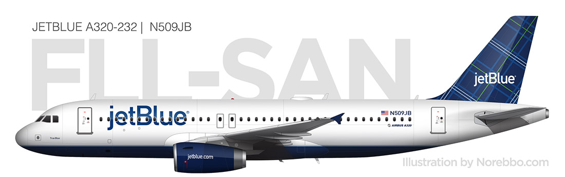 JetBlue A320 (N509JB) side view
