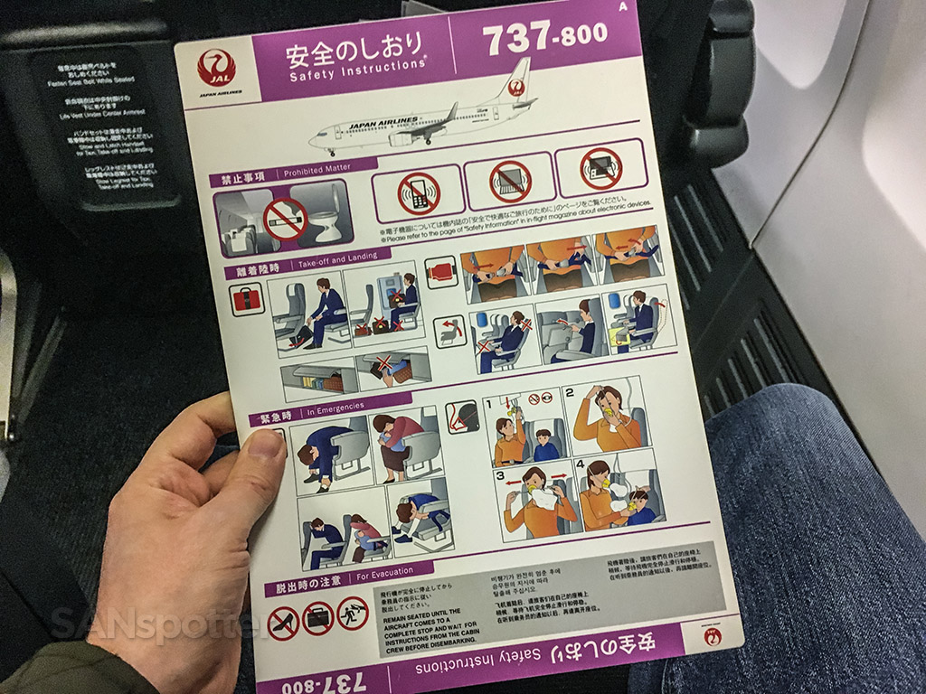 Japan Airlines 737-800 safety card