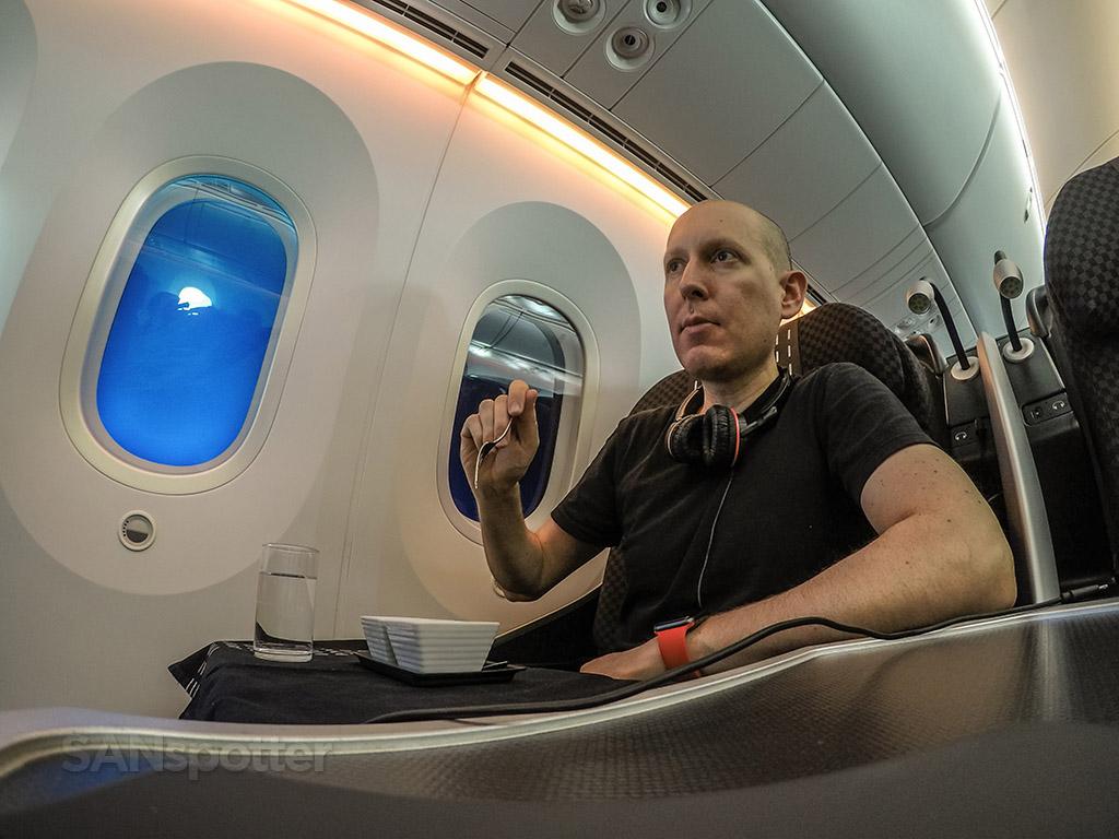 SANspotter selfie Japan Airlines business class