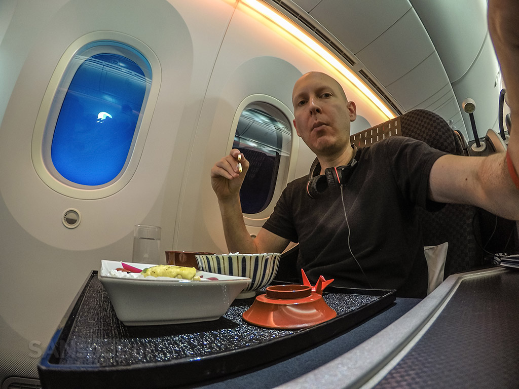 SANspotter selfie JAL business class