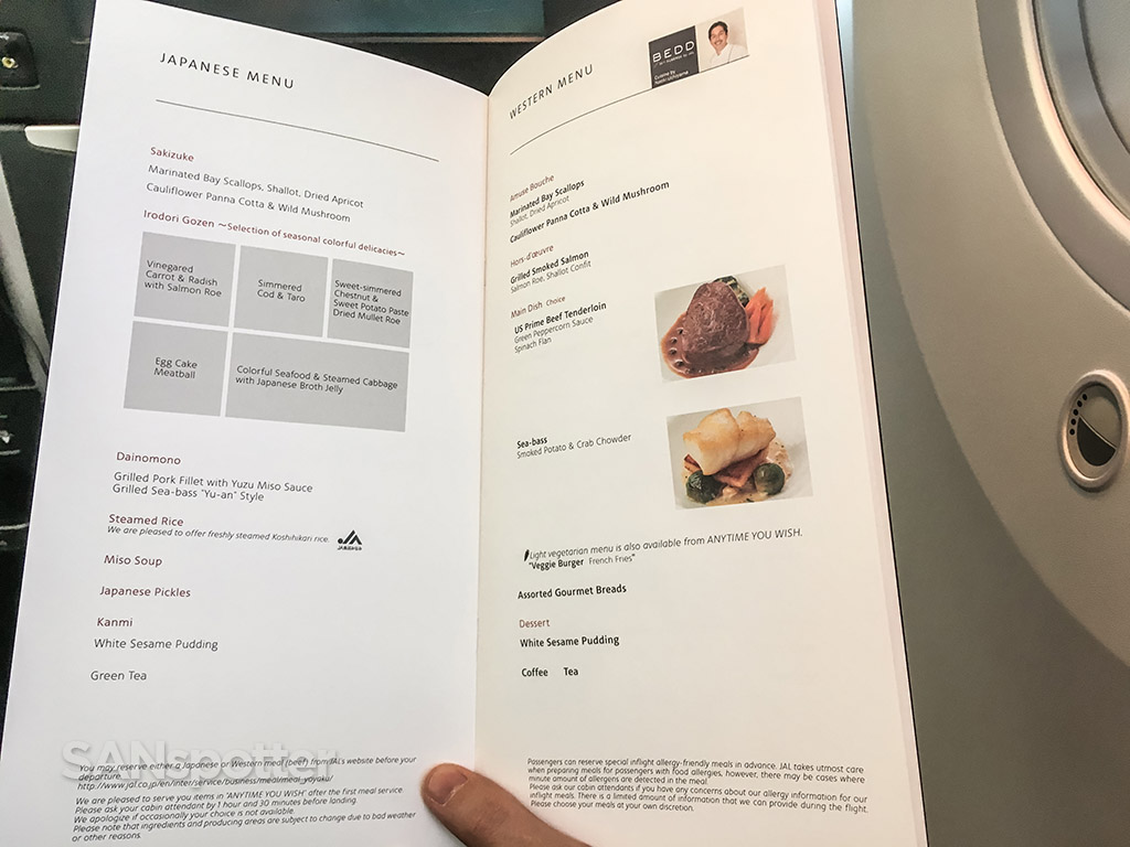 Japan Airlines business class menu options