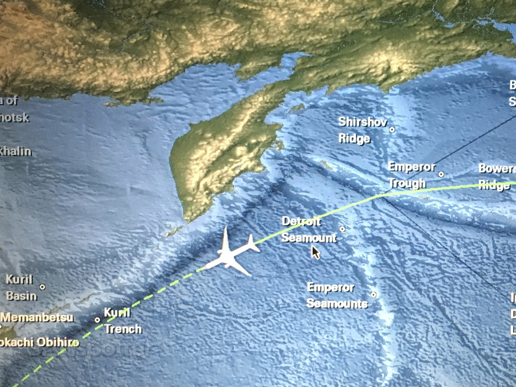 Flying to Japan Detroit seamount