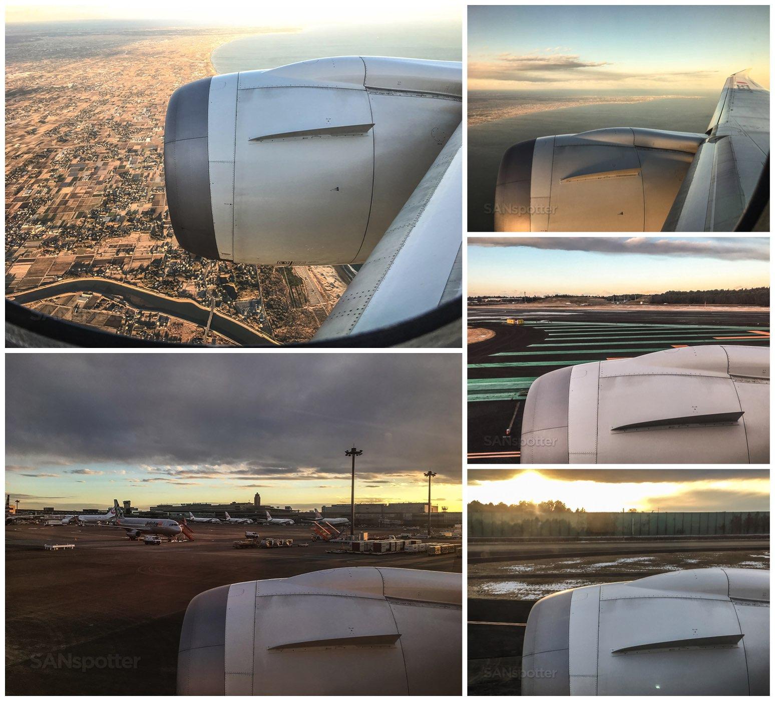Landing at Narita airport Japan Airlines 787
