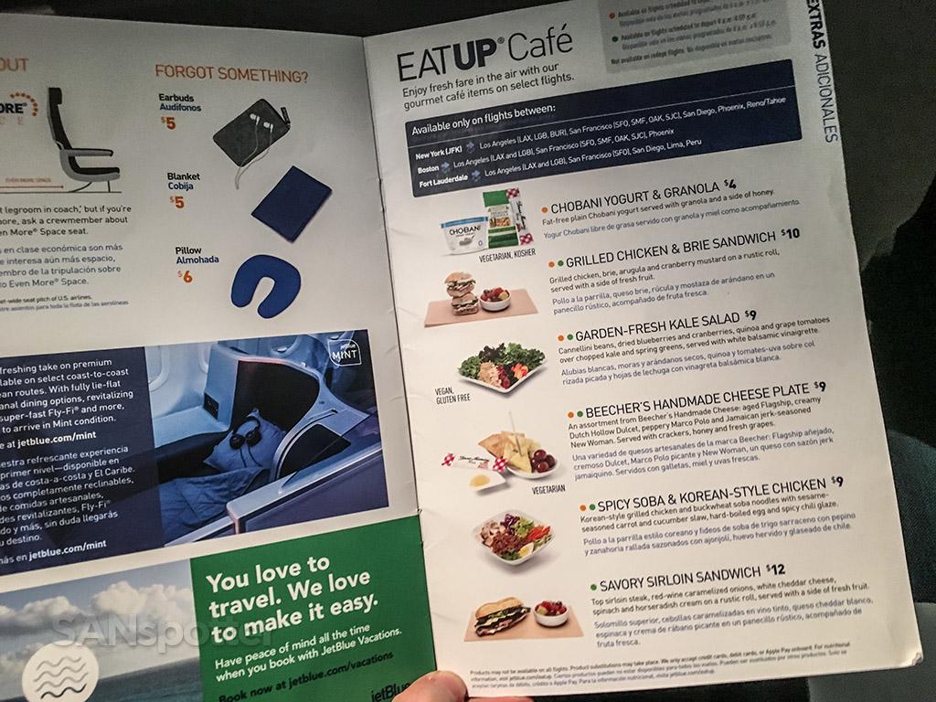 JetBlue menu