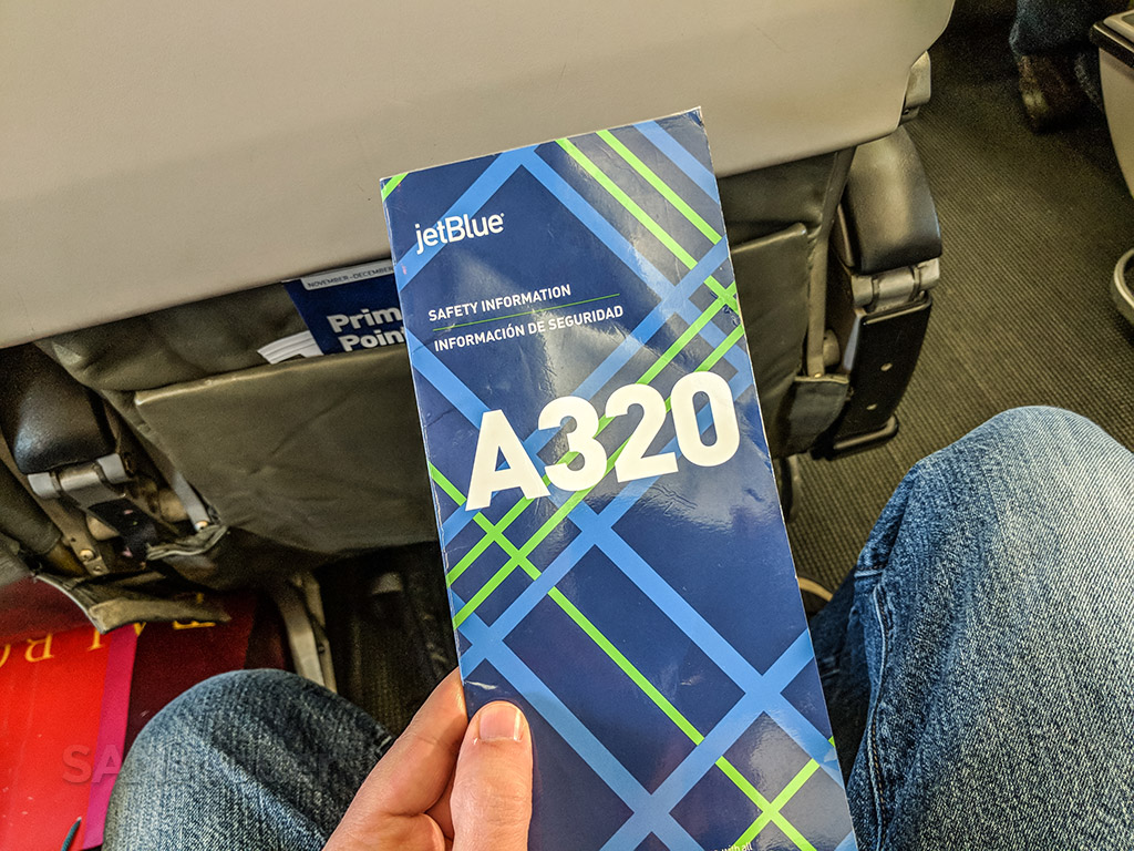 JetBlue A320 safety card front cover