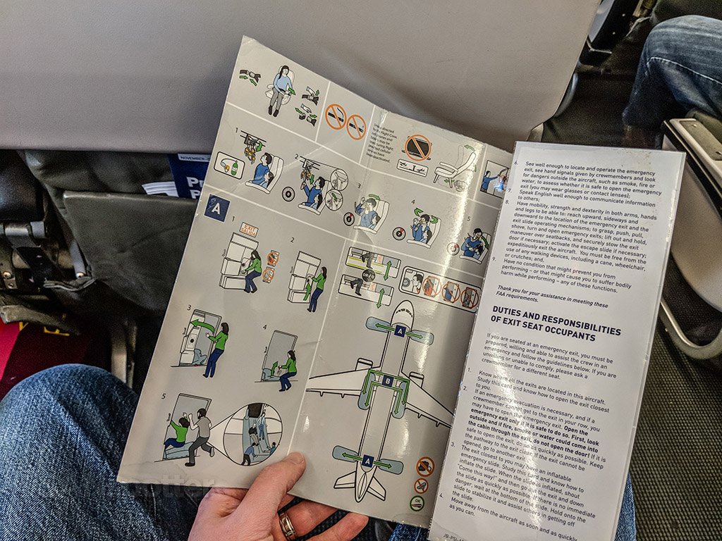 JetBlue A320 safety card interior
