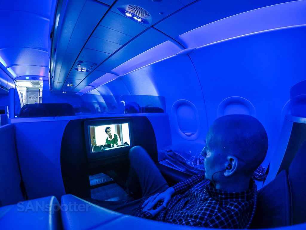 JetBlue Mint blue mood lighting