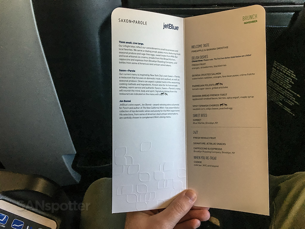 JetBlue Mint menu