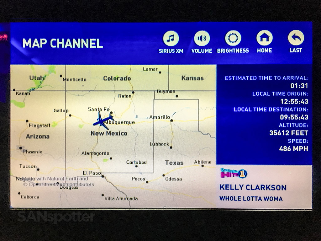 JetBlue inflight map