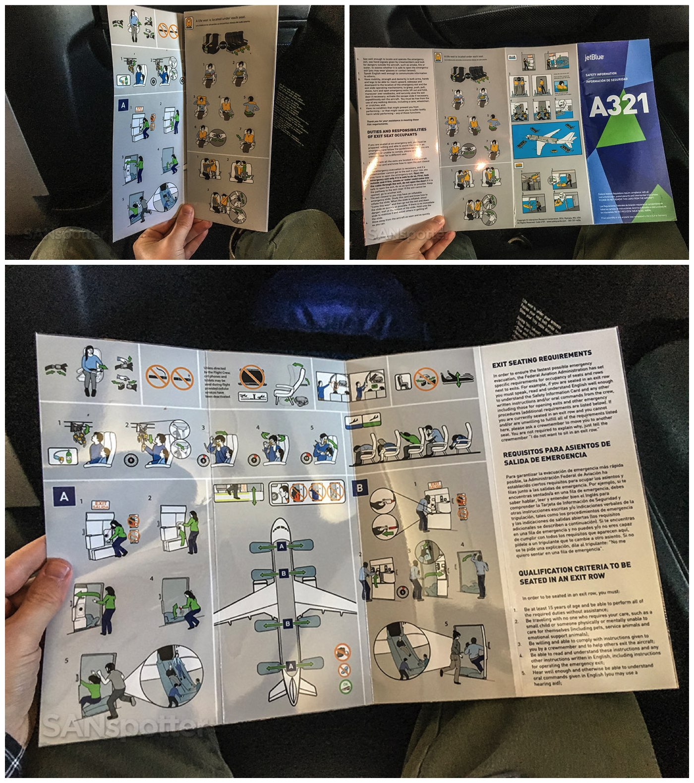JetBlue A321 safety card