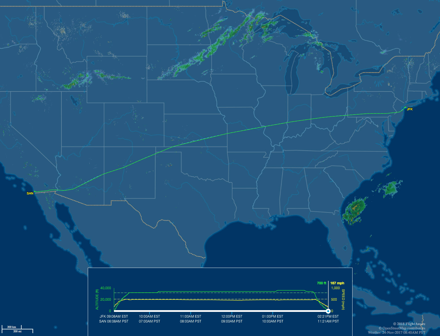 JFK-SAN flight map