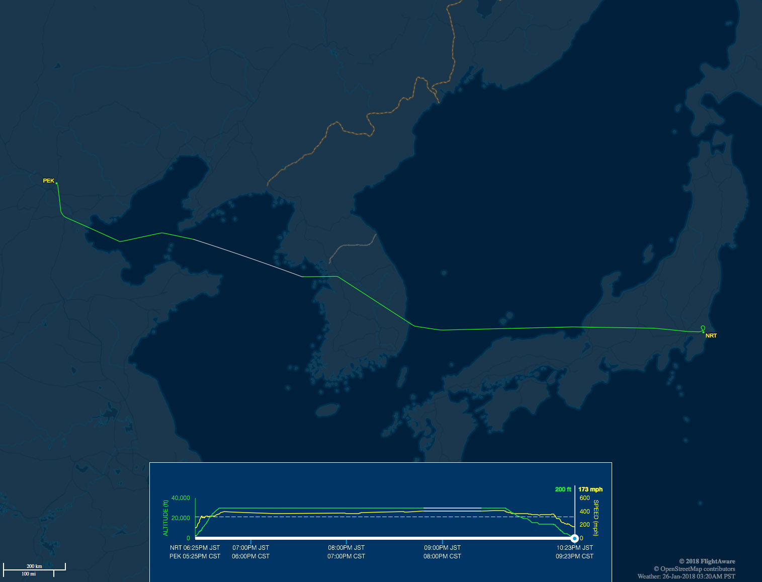 NRT to PEK route map