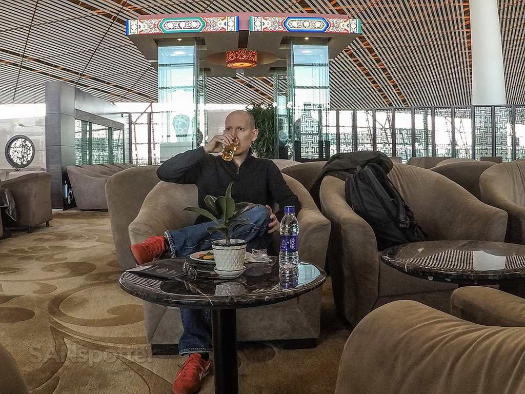 SANspotter selfie business class lounge Beijing Airport