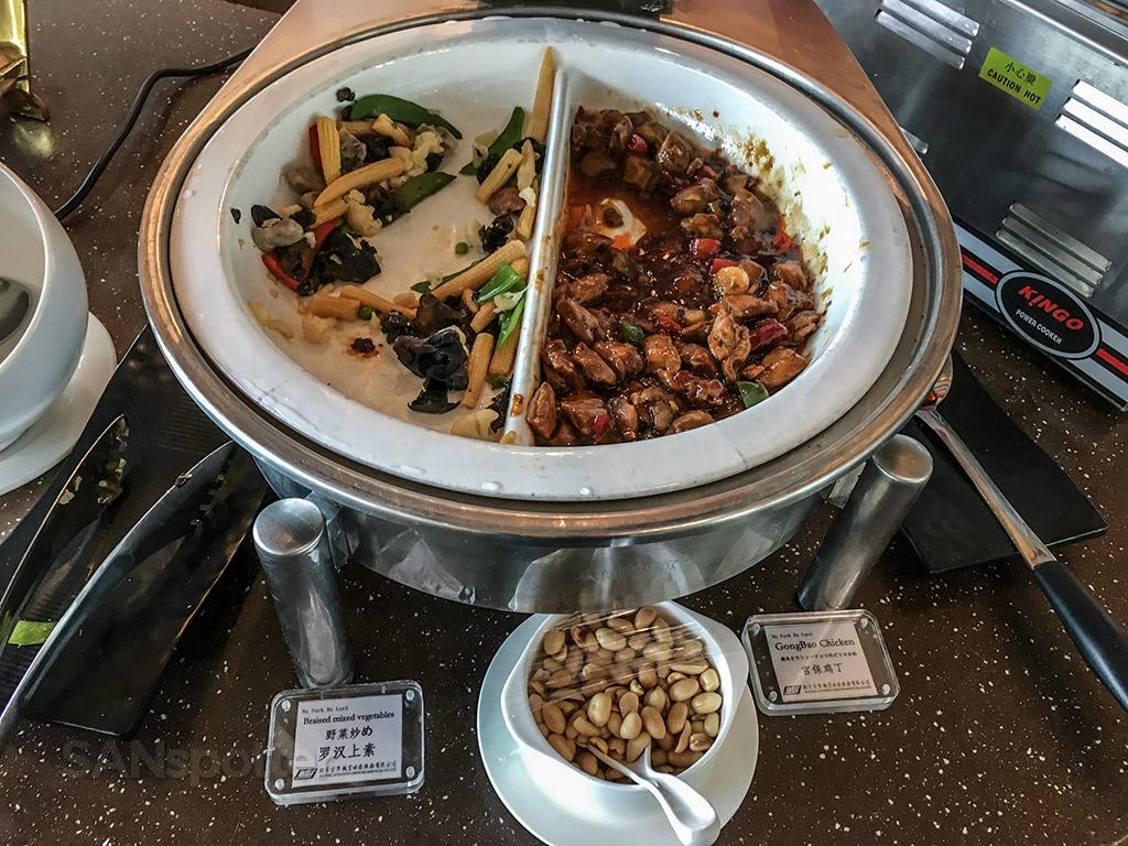 BGS premier lounge Beijing airport hot food