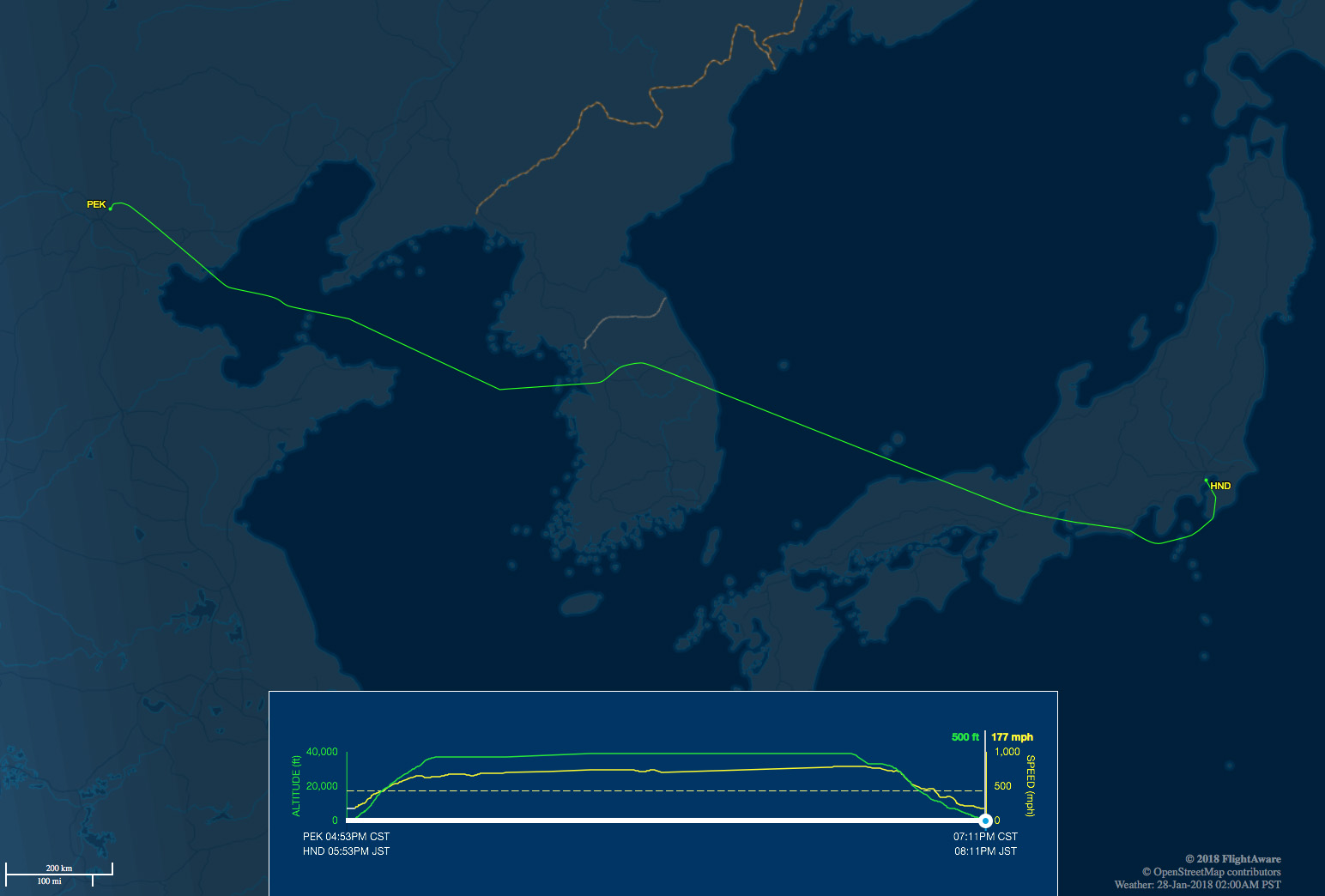 PEK-HND route map
